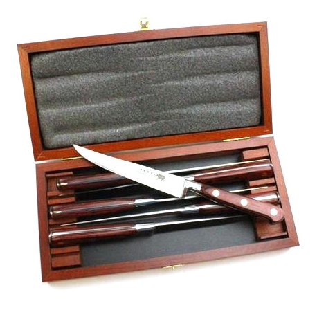 Six Piece Steak Knife Set in Red Stamina in a Beechwood Box